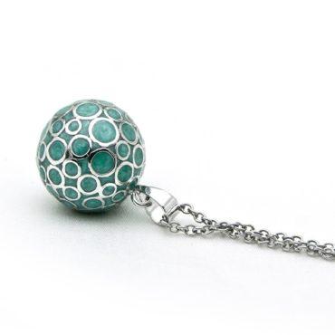 Turquoise Zwangerschapsbelletje met verzilverde ketting